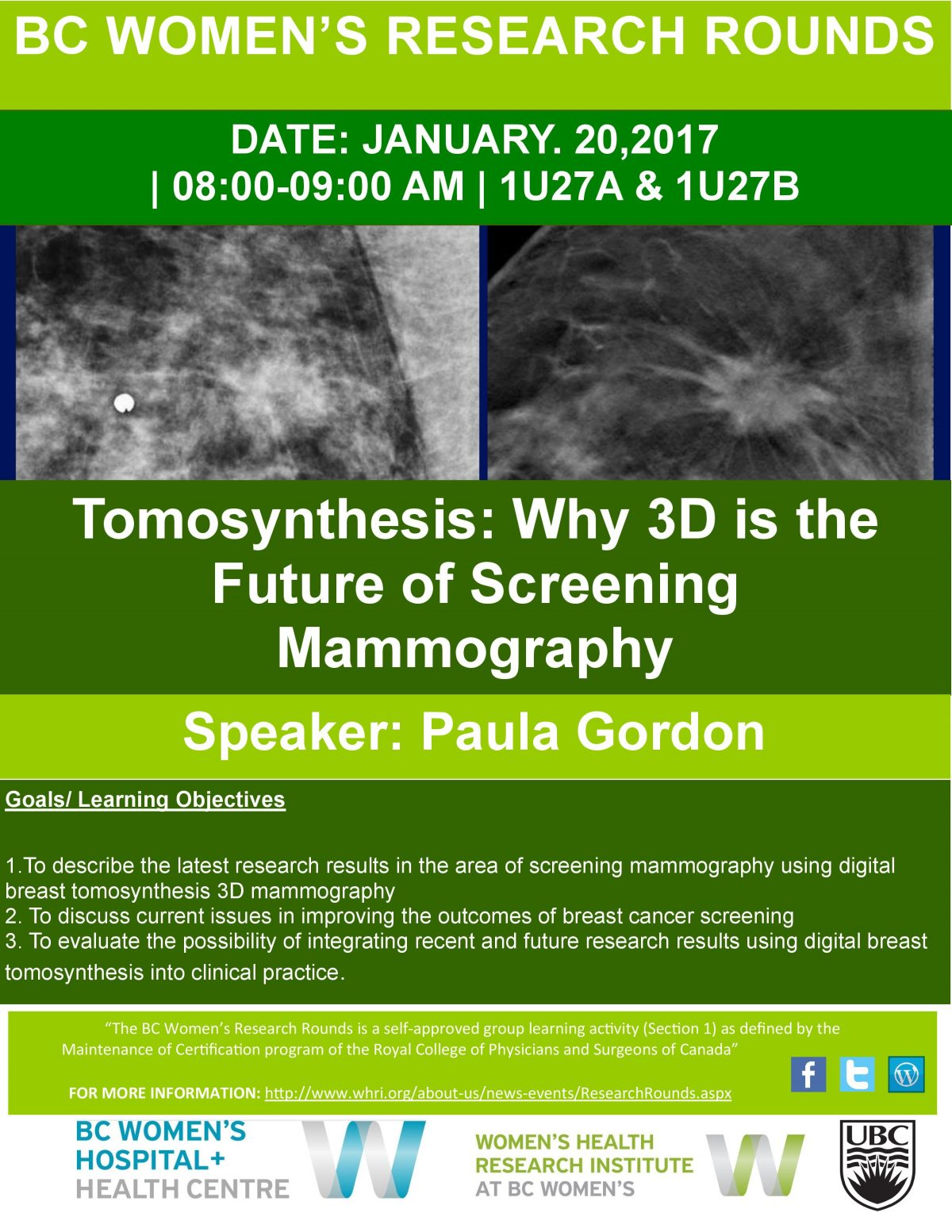 BC Women's Research Rounds: Tomosynthesis: Why 3D is the Future of Screening Mammography