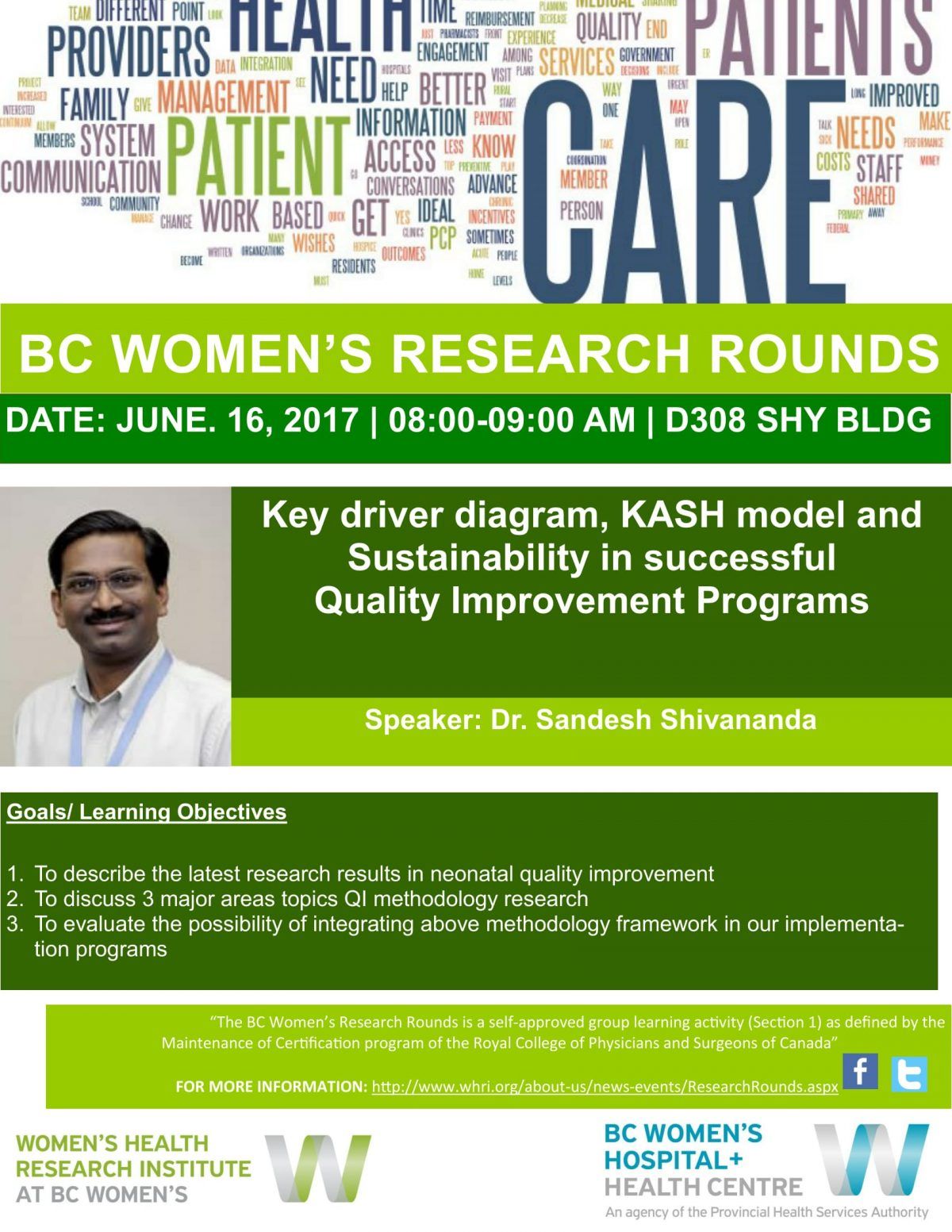 BCW Research Rounds- Dr. Sandesh Shivananda- June. 16, 2017-1