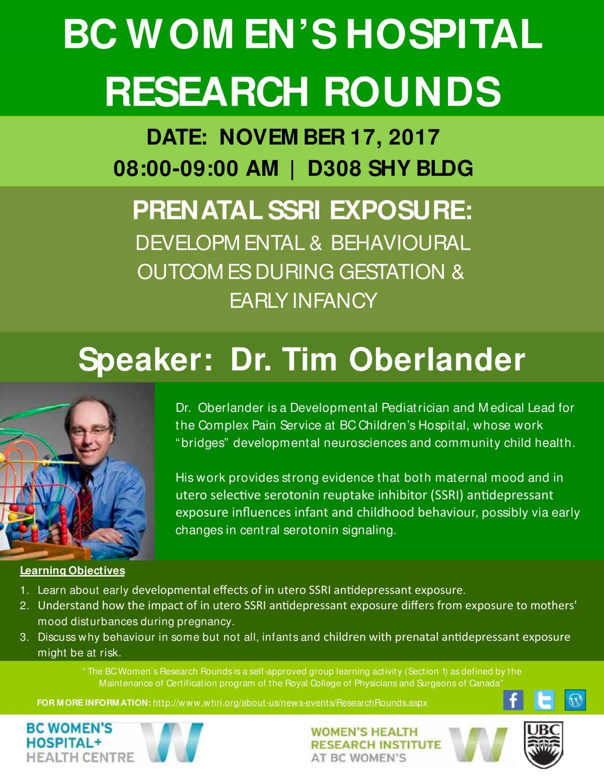 Prenatal SSRI Exposure: Developmental & behavioral outcomes during gestation & early infancy with Dr Tim Oberland