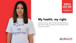 Girl wearing I Decide=#MyRightToHealth tshirt
