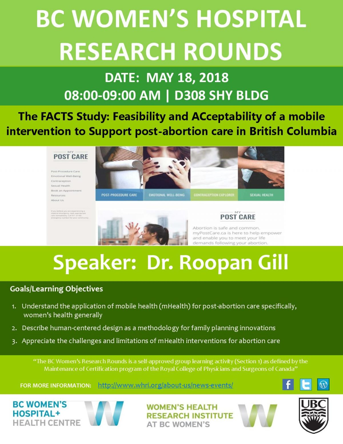 Research Rounds: The FACTS Study: Feasibility and ACceptability of a mobile intervention to Support post-abortion care in British Columbia