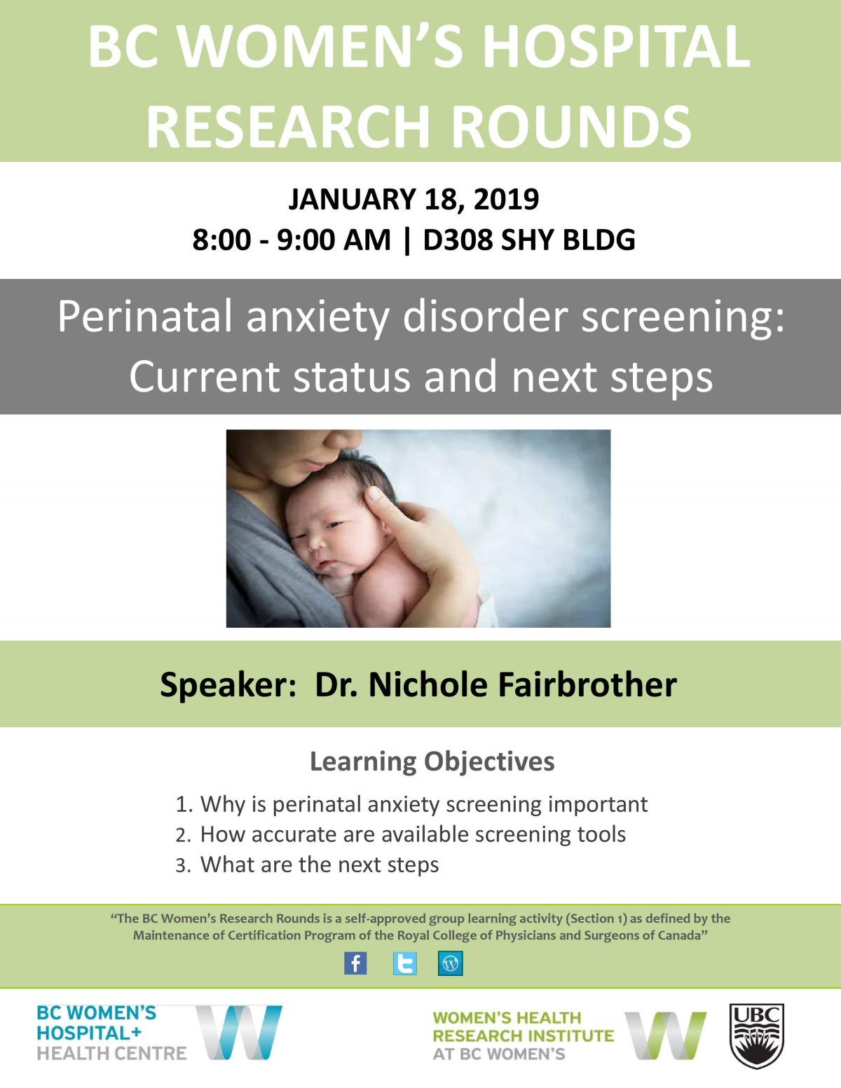 BC Women's Hospital Research Rounds: Perinatal anxiety disorder screening: Current status and next steps with Dr. Nichole Fairbrother