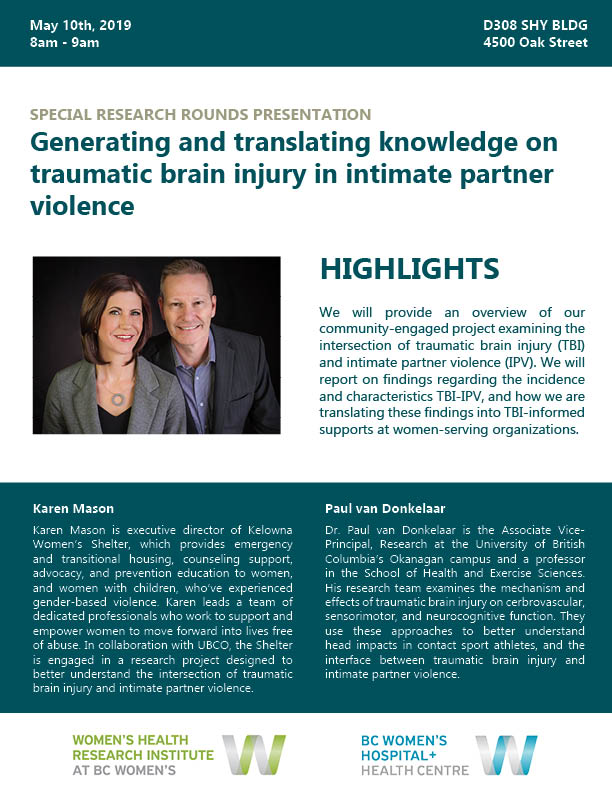 Special BC Women's Research Rounds Presentation: Generating and translating knowledge on traumatic brain injury in intimate partner violence
